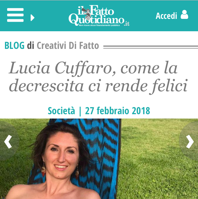 Lucia Cuffaro - Jai Guru Deva - Intervista su Il Fatto Quotidiano